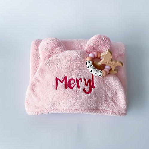Personalised Hooded Wrap Towel + Silicone Name Teether Set
