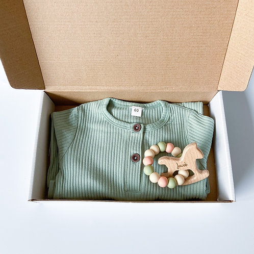Baby Sleepsuit + Engraved Teether Set