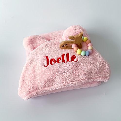 Personalised Hooded Poncho Towel + Engraved Teether Set