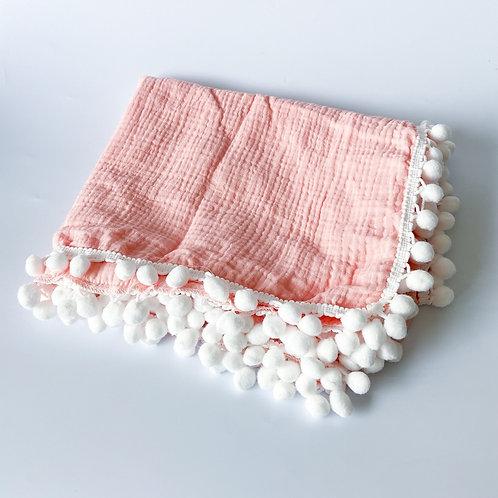 Personalised Pom Blanket - Baby Pink