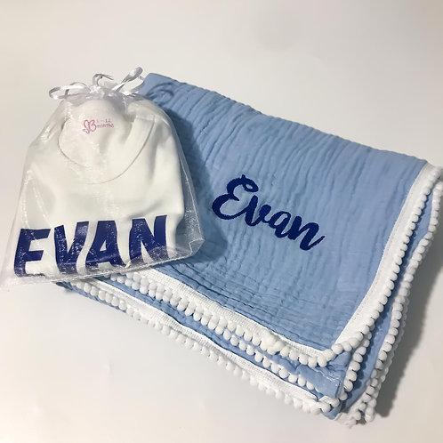 Personalised Baby Romper + Pom Blanket Gift Set