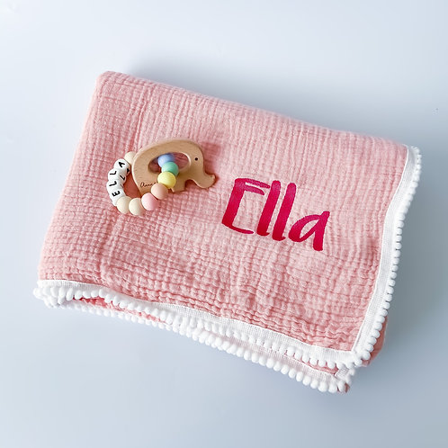 Personalised Pom Blanket + Silicone Name Teether Set