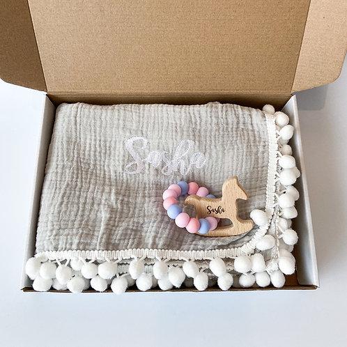 Personalised Pom Blanket + Engraved Teether Set - Morning Grey