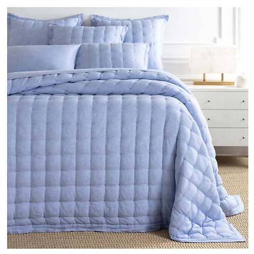 Comfy Cotton Bedspread - French Blue Puff