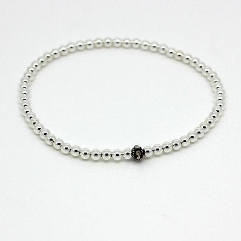 Mini Beaded Bracelet -Silver