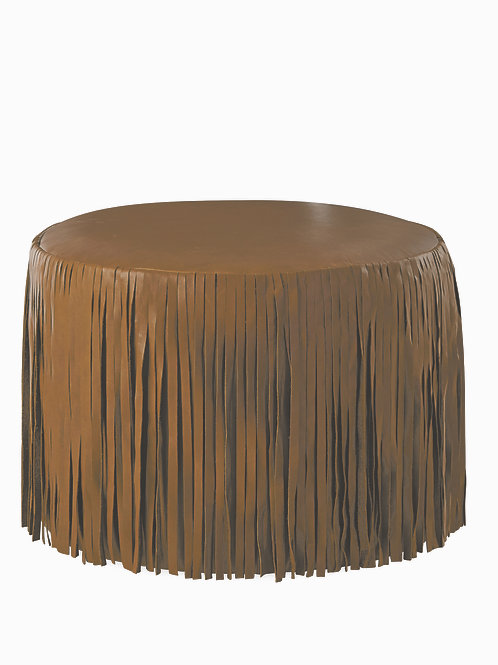 Leather Ottoman with Fringe on Casters