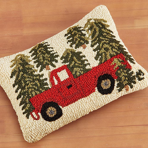 Hand Hooked Wool Pillow - Truck in Trees