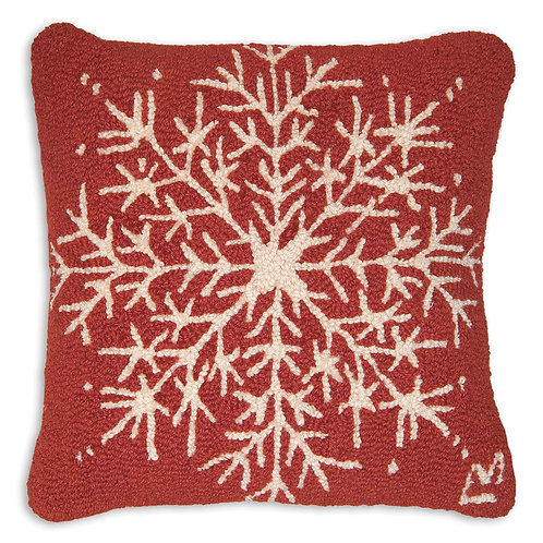 Hand Hooked Wool Pillow -Snowflake