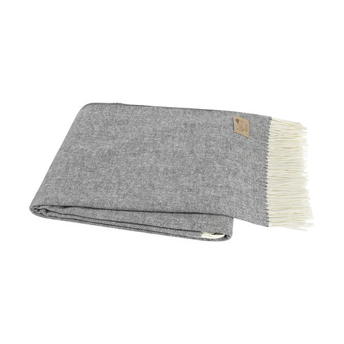 Charcoal Grey Italian Herringbone Throw