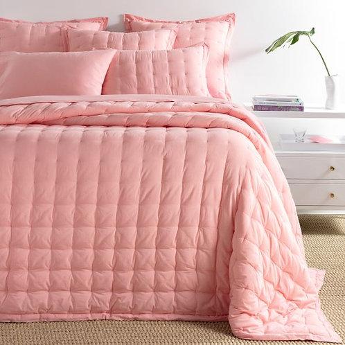 Comfy Cotton Bedspread - Coral Puff