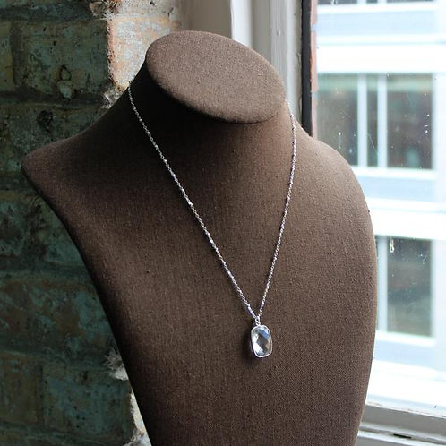 Silver Clear Pendant Necklace