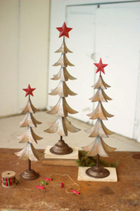 Metal Tree with Red Star - Medium