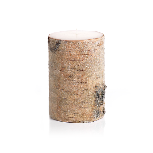 Frosted Bead Birchwood Candle
