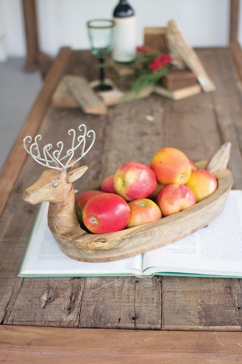 Mango Wood Reindeer Bowl