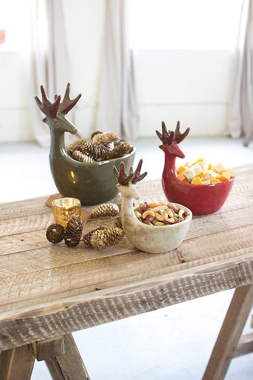 Ceramic Deer Bowls - Set of Three