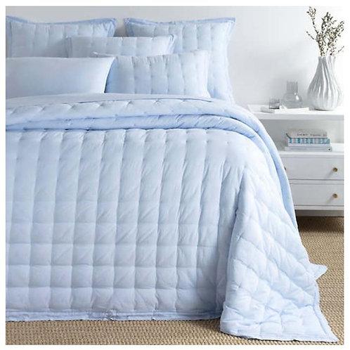 Comfy Cotton Bedspread - Soft Blue Puff