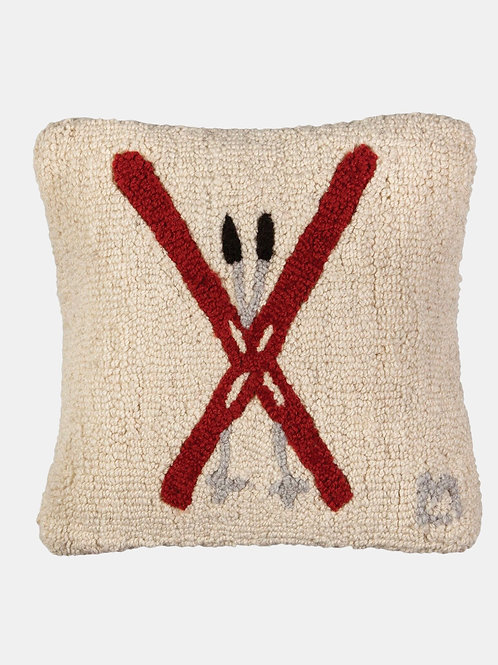 Hand Hooked Wool Pillow -Crossed Skis