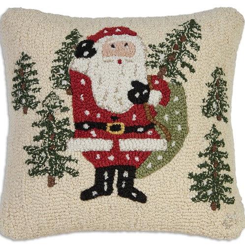 Hand Hooked Wool Pillow - Santa