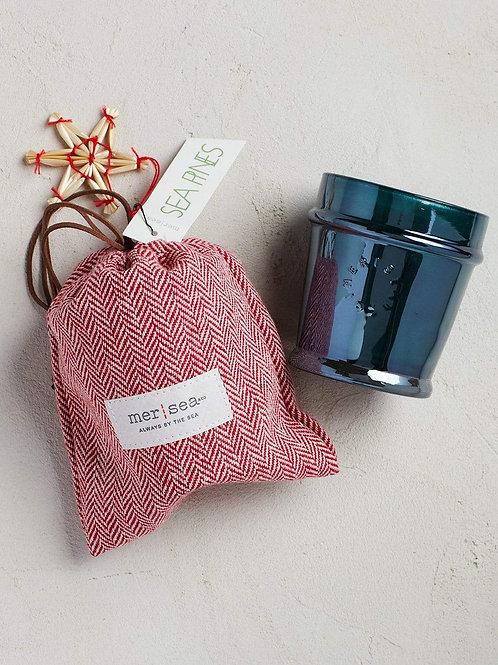 Sea Pines Candle with Herringbone Bag