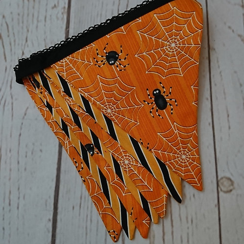 7 Flag Glow in the Dark Halloween Bunting - Spiders and Stripes