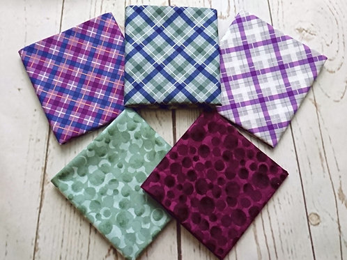 Iona Check & Bumbleberries FQ Bundle - 5 Pieces of Fabric