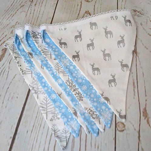 7 Flag Silver Stags & Trees Christmas Bunting