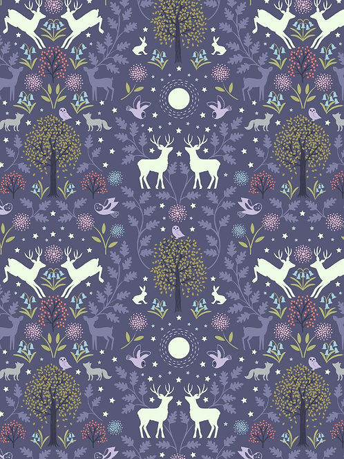 Mirrored woodland on ink -Glow in the Dark