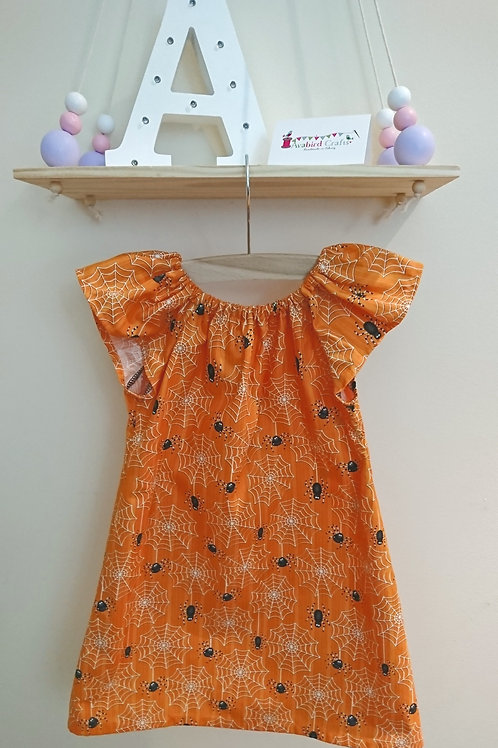 Halloween Flutter Dress - Age 4 - Glow in the Dark - Orange with Spiders