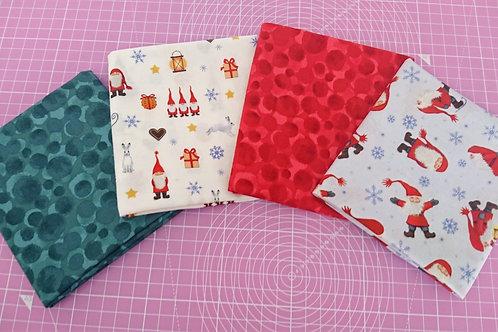 Tomten's Christmas  Fat Quarter Bundle - 4 pieces of fabric