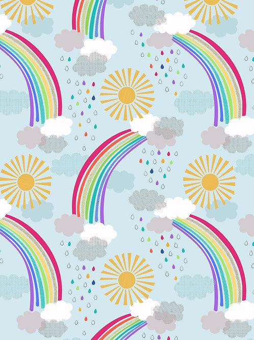Pastel rainbows on light blue