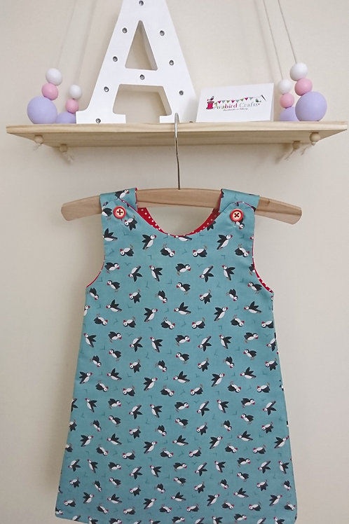 Pinafore - Age 1-2 - Turquoise Puffins