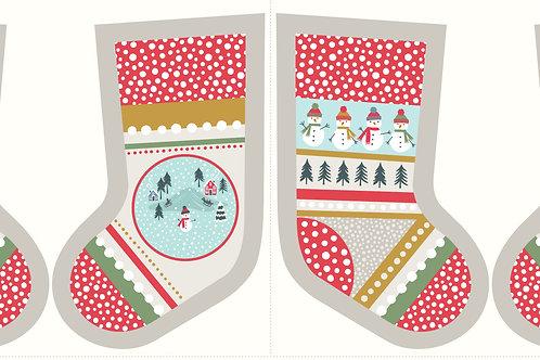 Lewis and Irene - Snow Day Stocking Panel - Cream