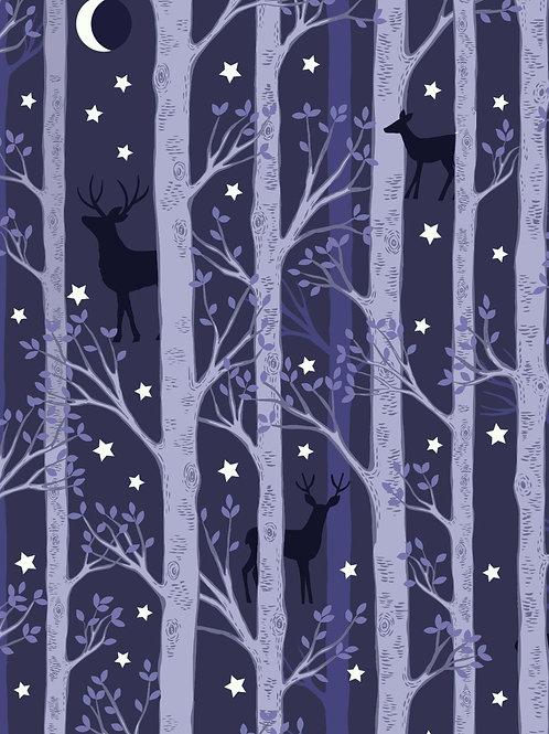 Forest deer blue - Nighttime in Bluebell Wood - Glow in the Dark