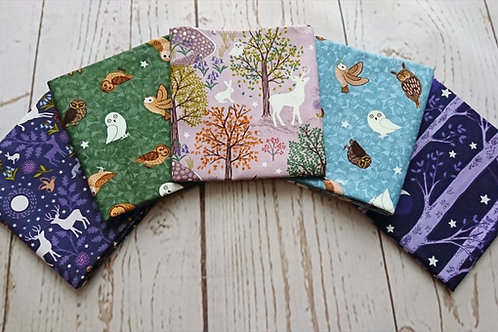 Glow in the Dark Nighttime in Bluebell Wood FQ Bundle - 5 pcs