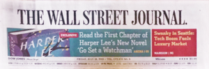 The Wallstreet Journal announces Harper Lee's new sequel to To Kill A Mockingbird