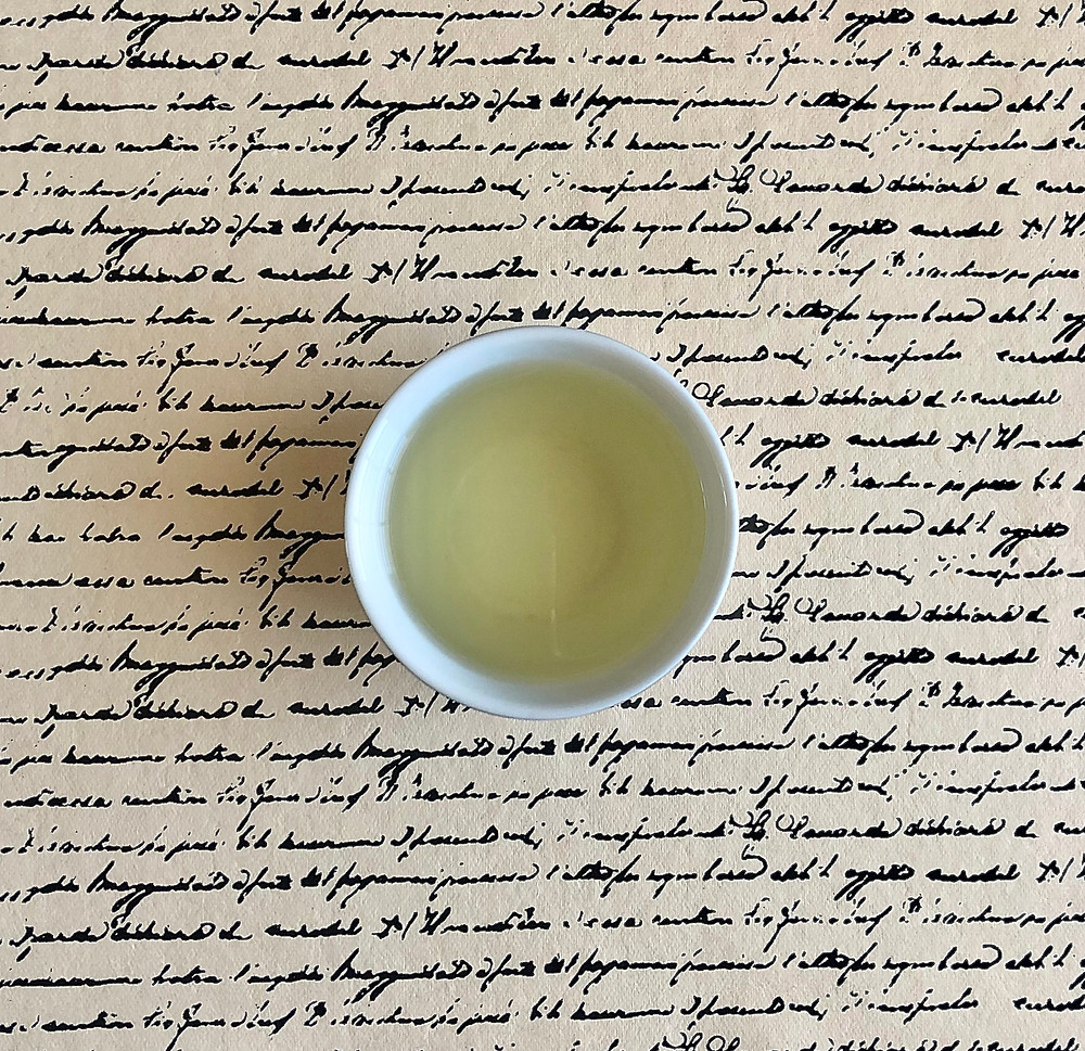 THE SIP: an aerial view of Tai Ping Hou Kui tea in a tea cup