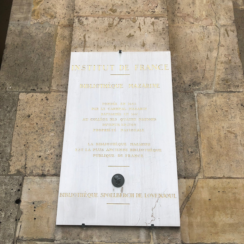 The Mazarin Public Library and The Institute of France info plaque
