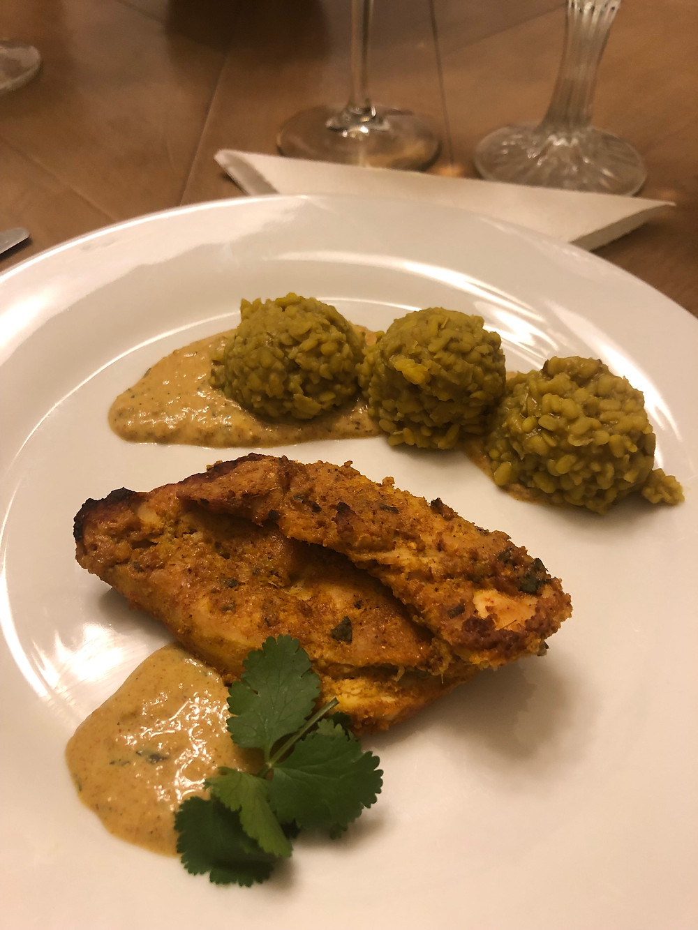 "Darjeeling ""Dry"" Mung Beans with Indian Yogurt & Spice Chicken in sauce"