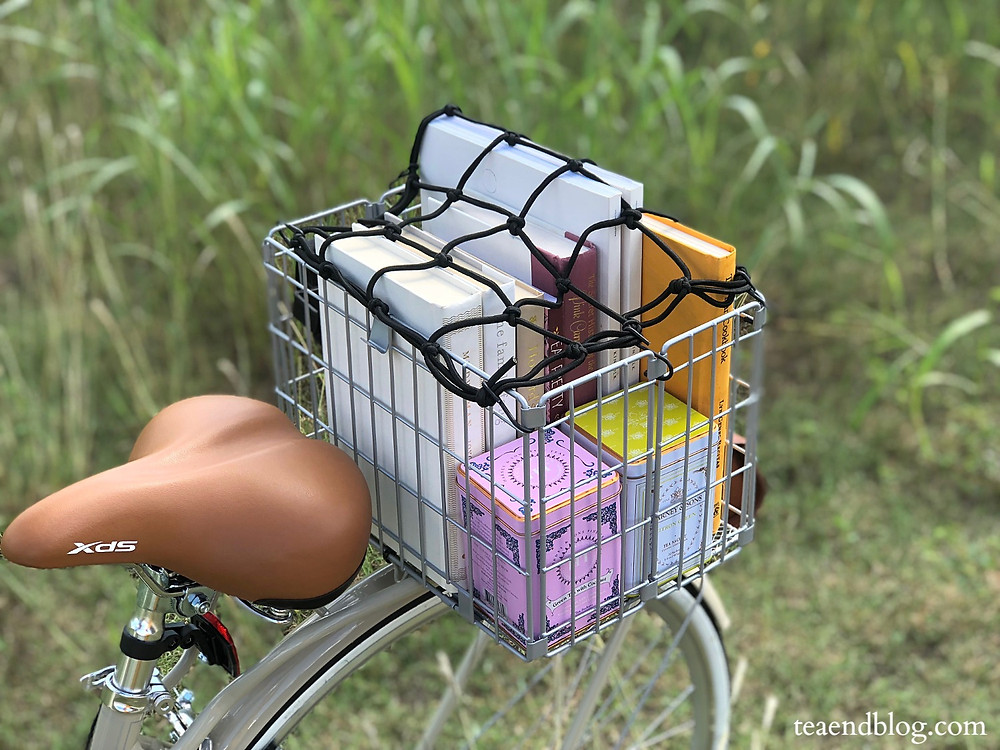 Sunlite Rear Wire Folding Basket with tea and books in it
