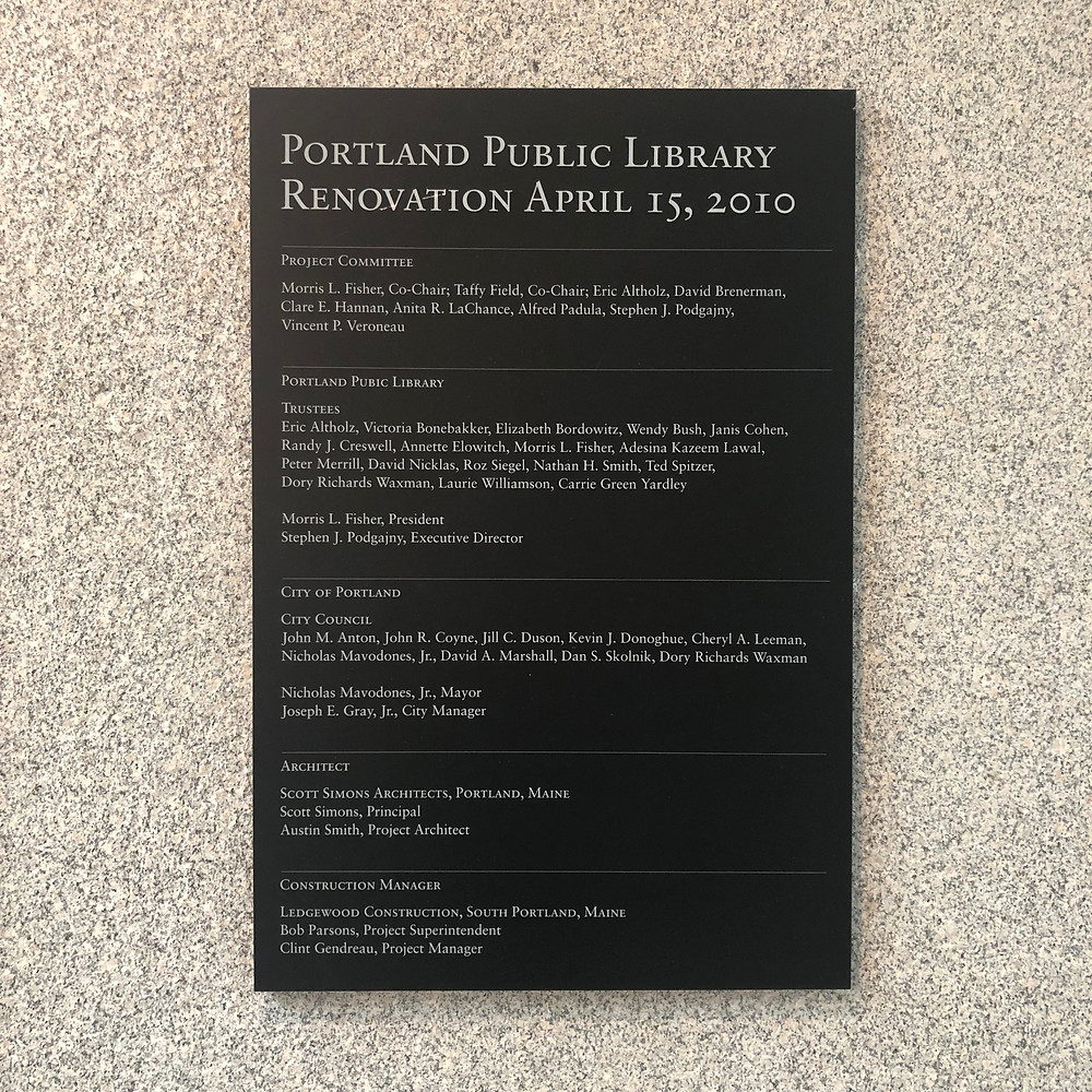 Portland Public Library renovation plaque