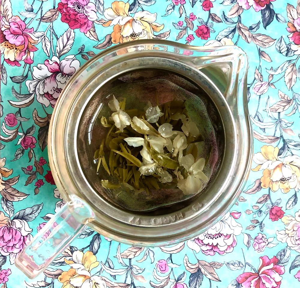 THE SIP: an aerial view of Bi Tan Piao Xue  tea in a tea pot