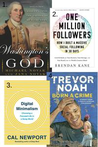 "4 books that Gabie is currently reading: ""Washington's God"" | ""One Million Followers"" | ""Digital Minimalism"" | ""Born A Crime"""