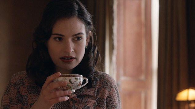 Juliet Ashton sipping tea in The Guernsey Literary & Potato Peel Pie Society