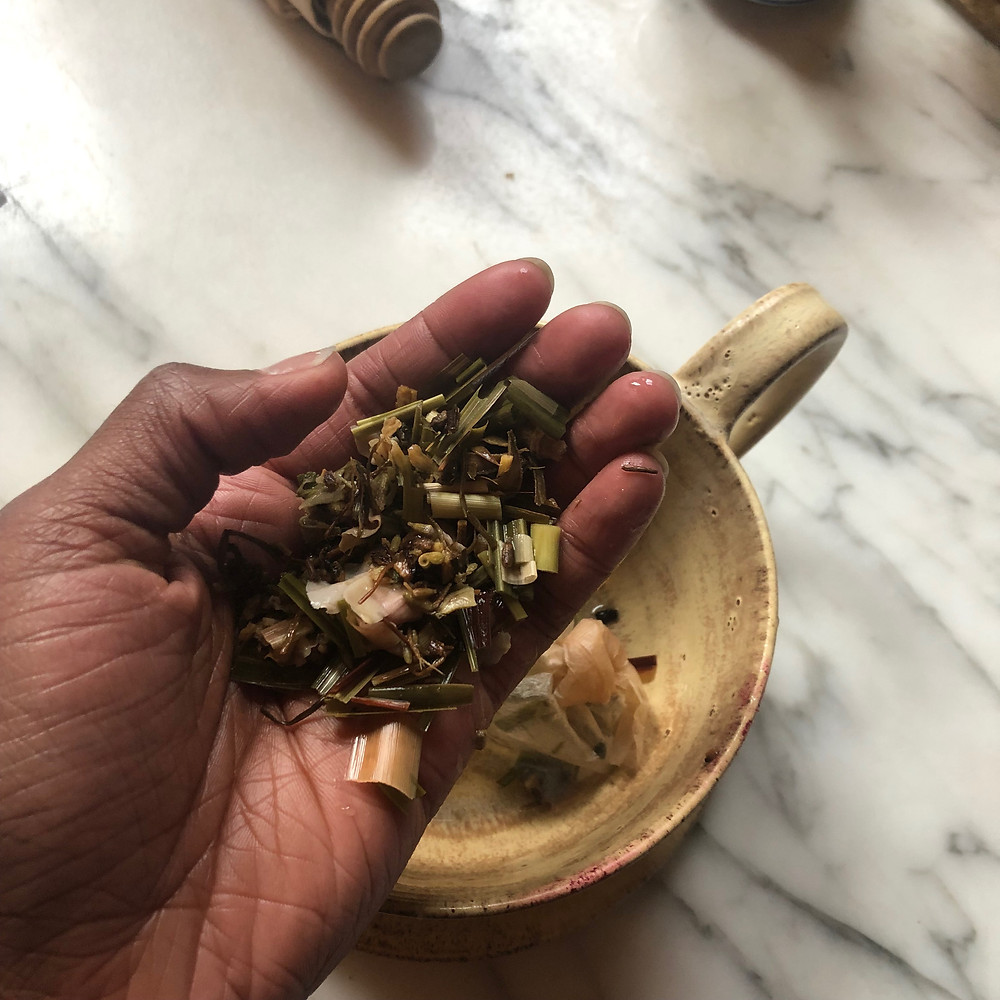 Tea Blend, peace, herbs in Gabie's hand