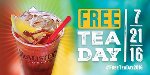FREE Tea Day at McAlister's Deli 07.21.2016