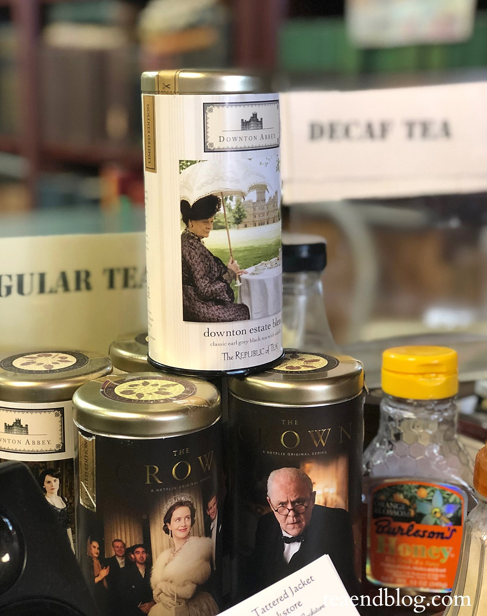 Various teas on the check-out counter of The Tattered Jacket Bookstore