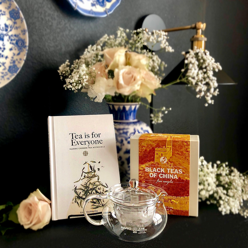 """""""Tea is for Everyone"""" by Chan Sin Yan, Hario Chachu Kyusu Maru Tea Pot and Infuser, Black Teas from China tea sampler from Adagios"""