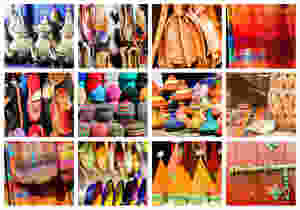 Collage of traditional Moroccan hats, shoes, tea pots, bags, linens, and dishes
