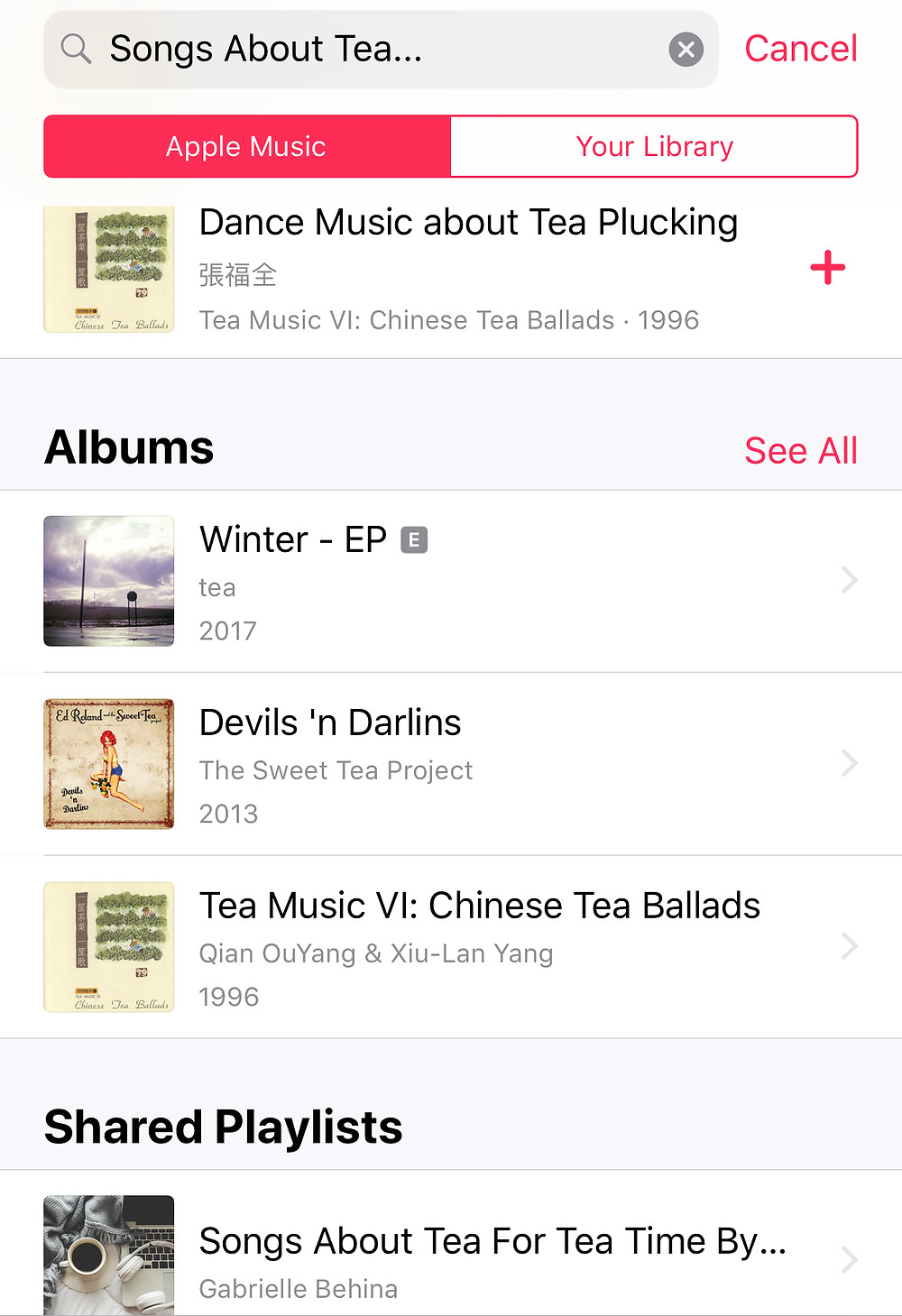 "Screenshot of Shared Playlist ""Songs About Tea For Tea Time By Tea End Blog"" on iTunes"
