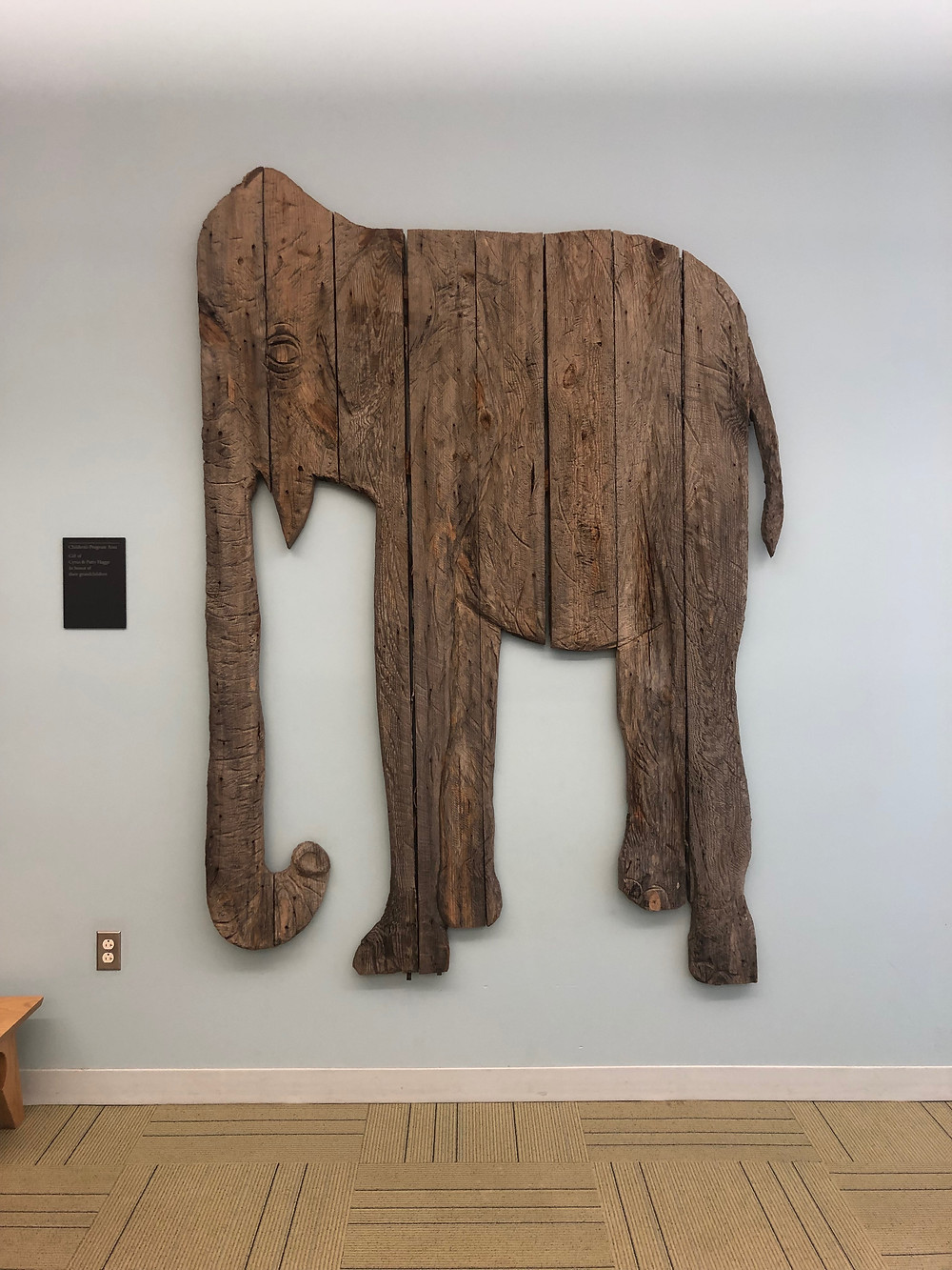 Elephant art in Children's section of Portland Public Main Library